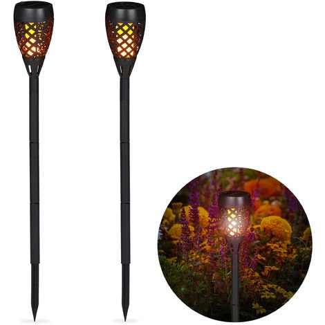 Relaxdays Solar Garden Torch Set of 2, Outdoor Garden Lighting, Flickering Flame, With Spikes, H: 78 cm, Black