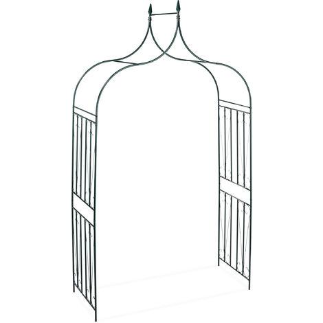 Relaxdays Rose Arch with Gate, Garden Growth Support, Metal Trellis, Weatherproof, HWD 270 x 144 x 60 cm, Dark Green