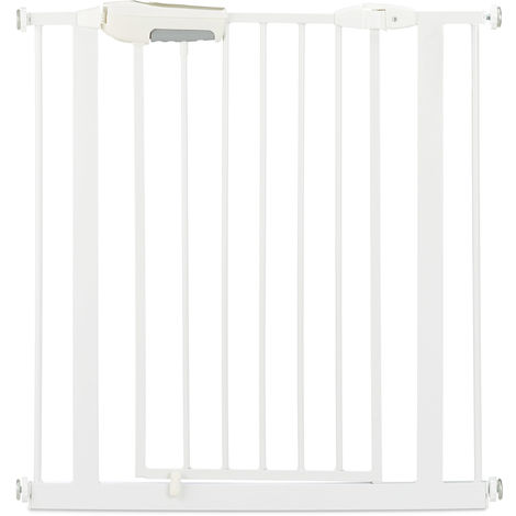 Relaxdays Baby Safety Gate, Sturdy Stair Barrier, Dog Gate, No Drilling, 80-85 cm, Extendible, White