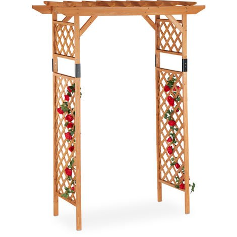 Relaxdays Wooden Rose Trellis Arch, Large Garden Arbour, Weatherproof Climbing Support For Plants, Extra Wide, 230x162x79 cm, Orange