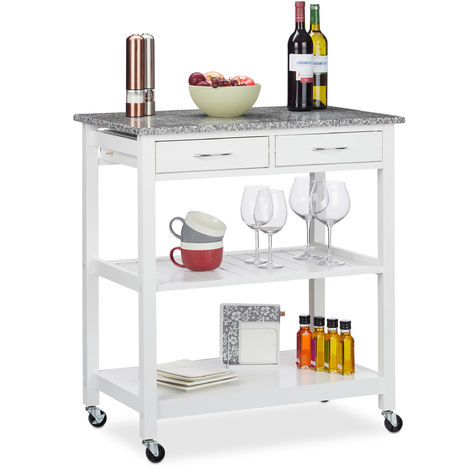 Relaxdays Kitchen Cart, Modern Serving Cart With Worktop, Farmhouse Look, 2 Shelves, 2 Drawers, 87x78x48.5 cm, White