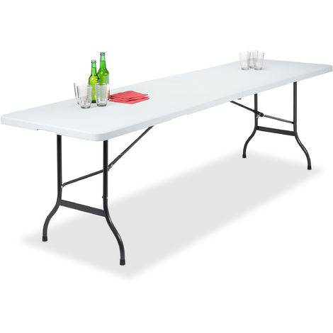 Relaxdays Folding Garden Table, Can Be Carried Like a Suitcase, Weatherproof, Rectangular, Metal Frame, Plastic, HWD: 73x240x70cm, White