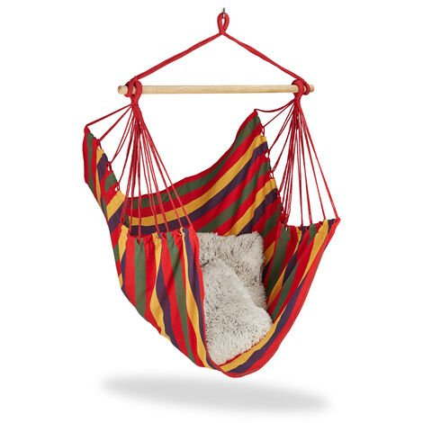 Relaxdays Hanging Chair. Modern Cotton Swing Seat, For Adults & Children, In- & Outdoor Use, Max. 150 Kg, Multi-coloured