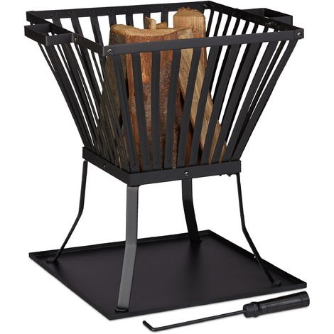 Relaxdays XL Fire Bowl with Poker for Patio & Garden, Drip Tray, For Wood, HWD 56 x 56.5 x 45 cm, Black