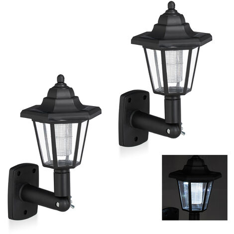 Relaxdays Solar Wall Lantern In A Set Of 2, Vintage Outdoor LED Solar Lamps, Energy-saving, Waterproof, Black
