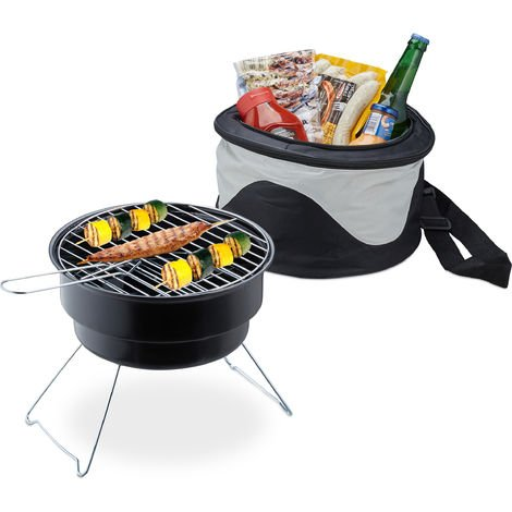 Relaxdays Picnic Grill With Cooler Bag, Portable Camping BBQ, Ø 26cm, Mini Barbecue For Travel, Black