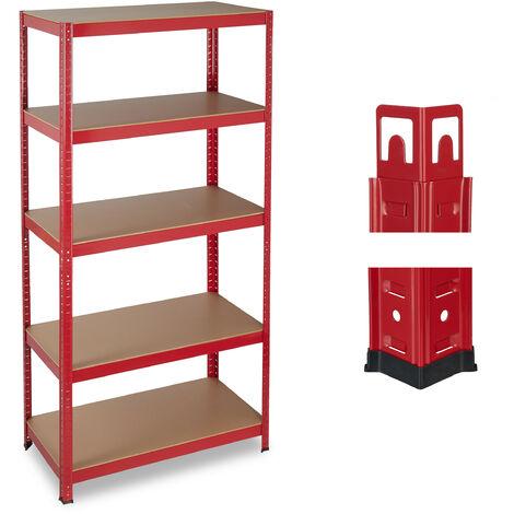 Relaxdays Heavy-duty Shelving, Capacity 875 kg, 5 Tiers, Modular, Cellar, Garage, HxWxD: 180x90x45 cm; Steel, MDF, Red