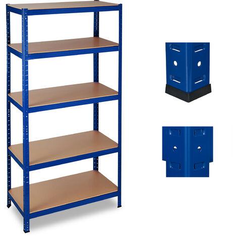 Relaxdays Heavy-duty Shelving, Capacity 1325 kg, 5 Tiers, Plug-In, Garage, HxWxD: 180 x 90 x 45 cm, Blue