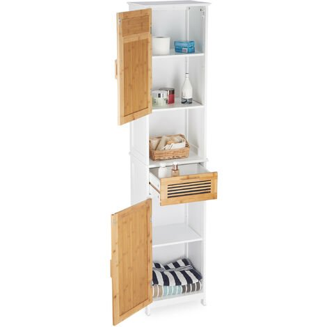 Relaxdays Bathroom Cabinet, 2 Doors, 1 Drawer, Tallboy, HxWxD: app. 180 x 39 x 30 cm, Wood and Bamboo, White-Brown