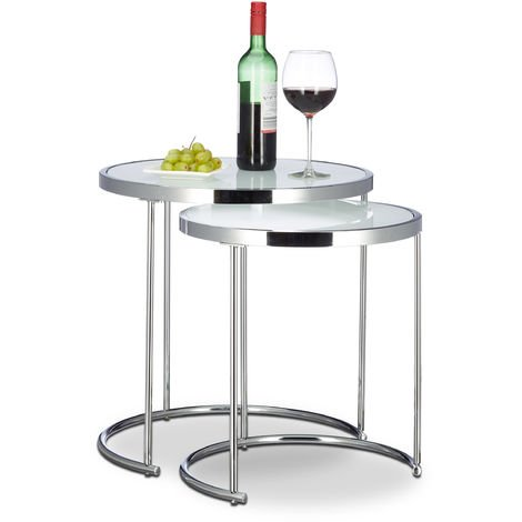 Relaxdays Nesting Tables Round, Chrome Frame, Set of 2, Modern Design - Frosted Glass, Side Table End Tables, Metal, Silver