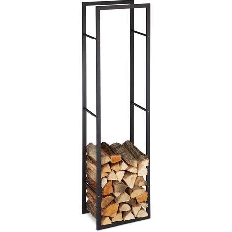 Relaxdays Indoor Firewood Rack, Tall Log Storage Shelf for Fireplace & Oven, Steel, HxWxD: 170x44.5x30 cm, Black