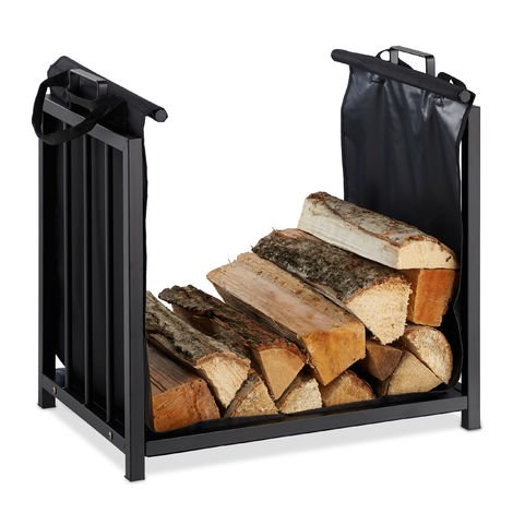 Relaxdays Firewood Rack with Carrier Tote, Indoor Use, Modern Design, Steel Storage Stand, HWD: 50x51x37cm, Black