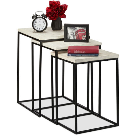 Relaxdays Nesting Table Set of 3, Square Side Tables, Mango Wood & Metal, Industrial Design, 3 Sizes, White
