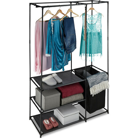 Relaxdays Open Wardrobe, With Laundry Basket, Freestanding, Clothes Rail With Shelves, HWD 180x115x50 cm, Black