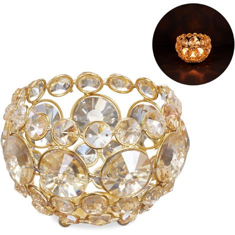 Relaxdays Crystal Tealight Holder, Glass Candle Bowl for Tea Lights, 11.5 cm ∅, Gold