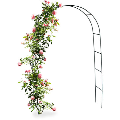 Relaxdays Metal Rose Arch, Growth Support for Climbing Plants, 240 x 140 cm, Dark Green