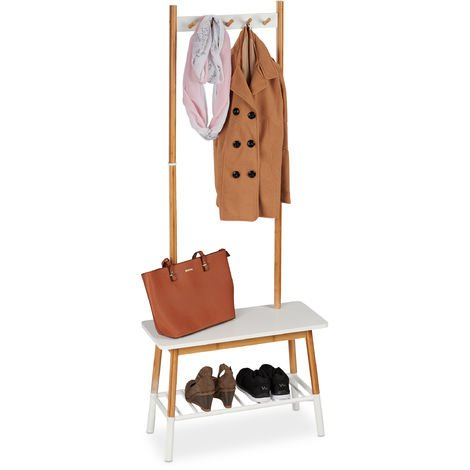 Relaxdays Standing Coat Stand Bamboo, Scandinavian Design, Standing Cloak Rack With Bench, 170x70x30 cm, White/Natural