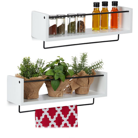 Relaxdays Floating Shelf for Kitchen, Set of 2, Metal Rail for Towel, Wall-Mounted, HWD 17.5 x 51 x 15 cm, White