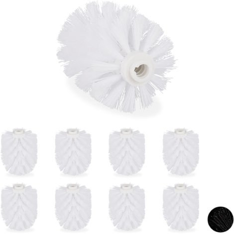 Relaxdays Toilet Brush Replacement Heads, Set Of 9, Pack Of WC Brushes, Plastic, 12 mm Thread, D: 7 cm, White