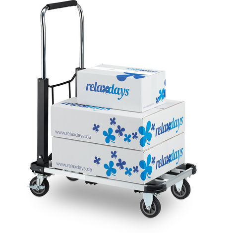 Relaxdays Platform Truck, Folding Hand Trolley, Extendable & Height-adjustable, Wheels With Brakes, Up To 100 kg, Black