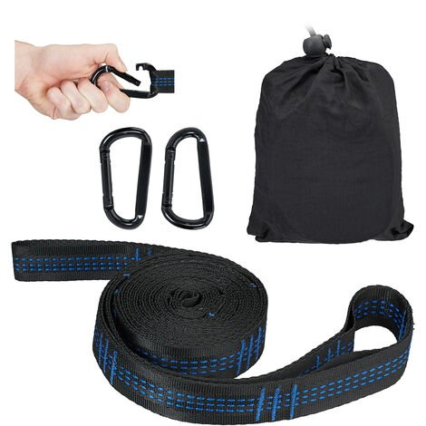 Relaxdays Hammock Straps, Hanging Suspension Swing Kit, Garden & Outdoor, Holds 200 kg, 2 x Snap Hooks & Straps, Black