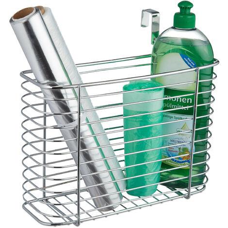 Relaxdays Cabinet Door Organiser, Cupboard Storage Basket, Sink Tidy, Kitchen & Bathroom, HWD 20x28x10 cm, Metal, Silver