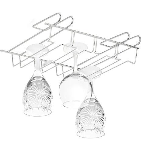 Relaxdays Stemware Rack, Bar Glass Holder for 12 Pieces, Bar, Kitchen, Pub, Iron Support, 8,5 x 34.5 x 26 cm, Silver
