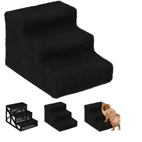 Relaxdays Dog Stairs, 3 Steps, Large & Small Pets, Access Ramp, Climbing Aid Couch, Cover, 30x35x45 cm, Black