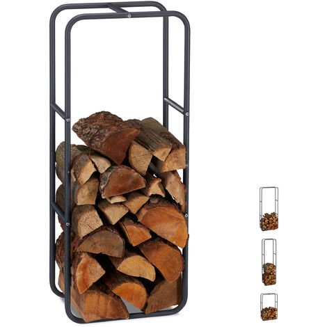 Relaxdays Firewood Rack, Log Stacking Aid, Steel, For In- and Outdoor Use, Wood Pile Shelf, H x W 100 x 40 cm, Anthracite