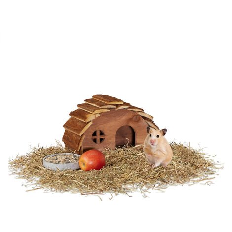 Relaxdays Wooden Hamster House, Round Den, Rodent Hideout, Accessory for Small Pets' Habitat, 17 x 25 x 15 cm, Natural