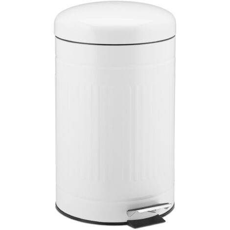 Relaxdays 12L Pedal Bin, Bin Liner with Handle, Kitchen Waste Bin, Trash Can, Stainless Steel, White