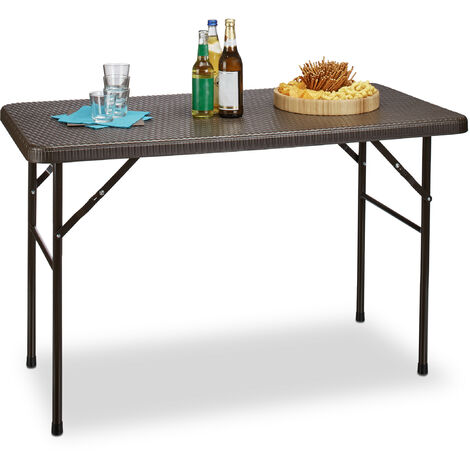 Relaxdays BASTIAN Garden Table Folding Table Rectangular 74 x 121.5 x 61 cm for Backyard, Balcony or Patio with Metal Frame in Rattan Look as Side Table or Camping Table, Dark Brown