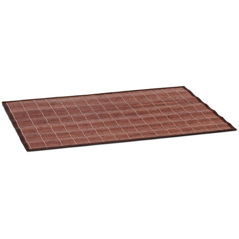 Relaxdays Bamboo Bath Mat 80 x 50 cm Bathroom Mat of Wood with Anti-Slip Underside, Perfect for use as Bathtub Mat or Shower Mat, Brown