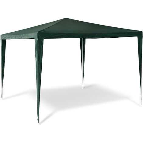 Relaxdays Gazebo Party Tent 2.5x3x3m Garden Canopy Pavilion Marquee, Roof, 100% PE, Tent for Festivals, Camping, Steel Frame, Green