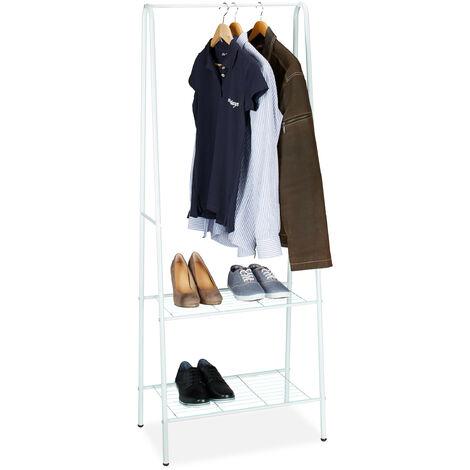 Relaxdays Clothes Stand SANDRA with 2 Shelves, Metal, Wardrobe Storage Unit, with Garment Rail, Size: 160 x 61.5 x 38 cm, White