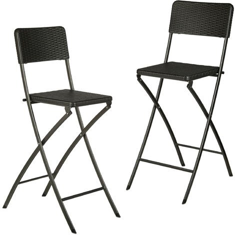 Relaxdays BASTIAN Folding Bar Stools, Rattan Look, Backrest, Bistro Chairs, Foldable, 78 cm Tall, Counter-Height, Black