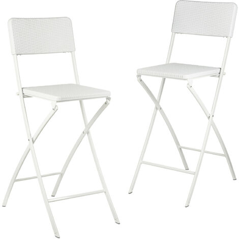 Relaxdays BASTIAN Folding Bar Stools, Rattan Look, Backrest, Bistro Chairs, Foldable, 78 cm Tall, Counter-Height, White