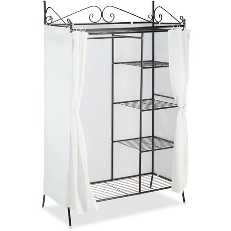 Relaxdays COUNTRY Metal Wardrobe 172 x 105 x 45 cm, Cottage Style, Armoire Closet with Cloth Cover, Black