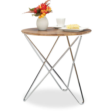 Relaxdays Round Side Table, Wooden Coffee Table in Vintage Look with Curved Metal Leg, Living Room End Table, 59x60x60 cm, Low, Brown
