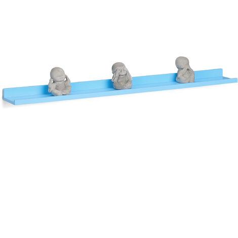 Relaxdays Narrow Floating Shelf, Wooden Hanging Shelf, MDF Bookcase, HxWxD: 3.5 x 80 x 10 cm, Blue