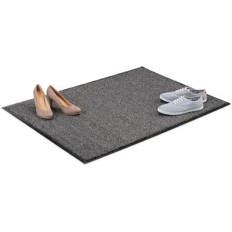Relaxdays Grey Dirt Trapping Mat, Indoor Doormat, Large Dirt Catcher, Thin Door Mat, 90x120 cm, Black-Grey