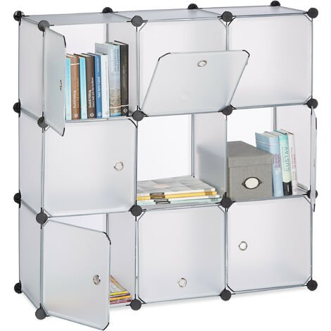 Relaxdays Shelving System with Doors, Plastic Divider, Standing Shelf with 9 Compartments, 95 x 95 x 35 cm, Transparent