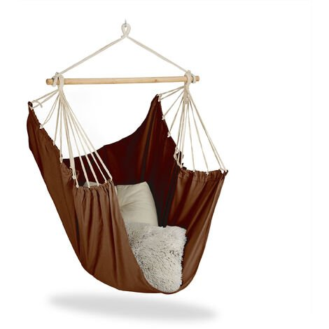 Relaxdays Hanging Chair. Modern Cotton Swing Seat, For Adults & Children, In- & Outdoor Use, Max. 150 Kg, Diff. Colours