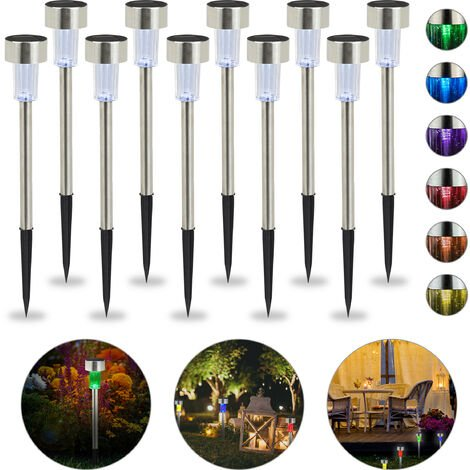 Relaxdays Solar Lights Set of 10, Waterproof LED Pathway Lights, Garden & Balcony, Color Change, Stainless Steel, Silver