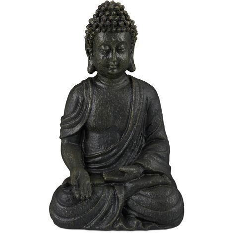 Relaxdays Buddha Ornament Sitting 30 cm high, Garden Decorative Figurine For Home and Garden; Weatherproof, Frost-proof, Dark Grey