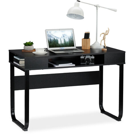 Relaxdays Desk, 3 Open Shelves, Modern Design, Home, Office, etc, HWD: 74,5 x 110 x 55 cm, Black
