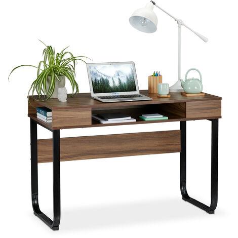 Relaxdays Desk, 3 Open Shelves, Modern Design, Home, Office, etc, HWD: 74,5 x 110 x 55 cm, Wood/Black