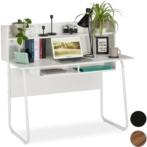 Relaxdays Desk With Shelving Above & Below, Cable Hole, H x W x D: 109 x 120 x 60 cm, White