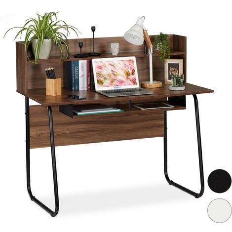 Relaxdays Desk With Shelving Above & Below, Cable Hole, H x W x D: 109 x 120 x 60 cm, Wood/Black