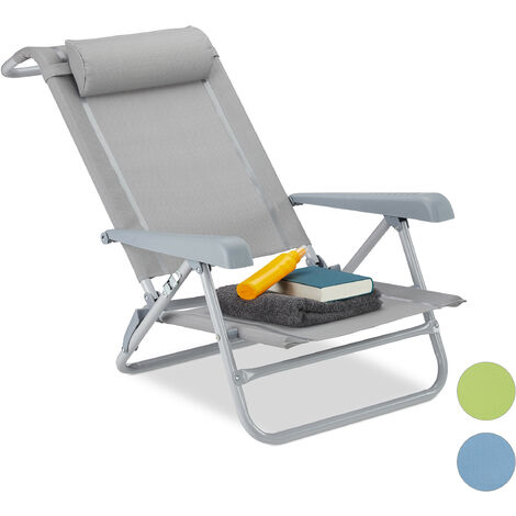 Relaxdays Folding Deck Chair, Neck Cushion, Bottle Opener, Adjustable Armrests, 120 kg, Textilene Fabric, Gray